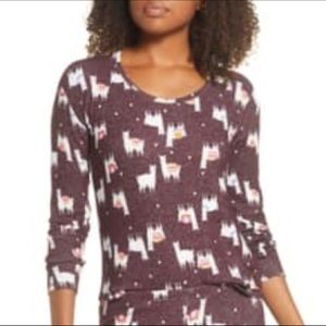 BP. Girlfriend Long Sleeve Llama Pajama Top Sz XS